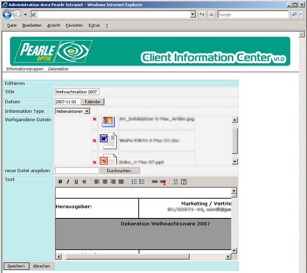 Pearle Intranet