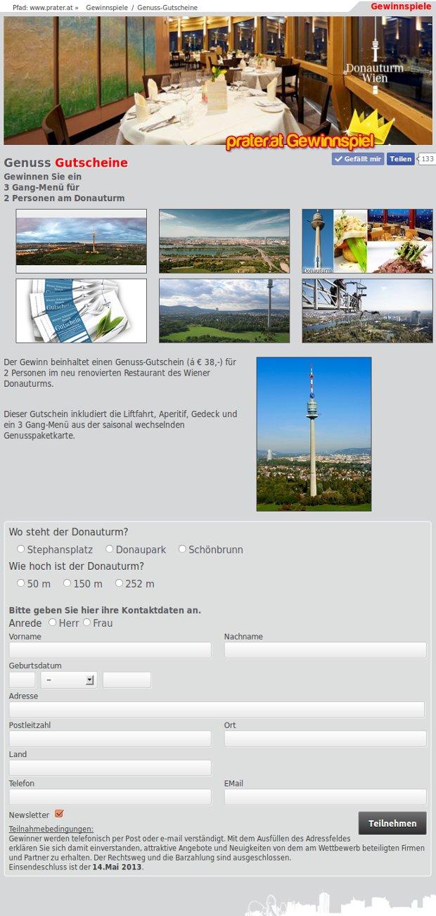 Donauturm Wien Verlosung Genuss Gutscheine Kk Bits
